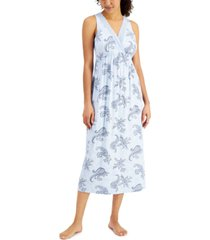 charter club sleeveless lace-trim printed nightgown, created for macy's