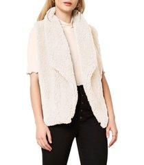 women's bb dakota fleeced i could do faux fur vest, size large - beige
