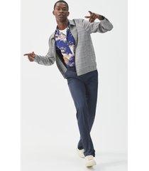 men's big & tall santorelli luxury flat front wool dress pants, size 54 x unhemmed - blue