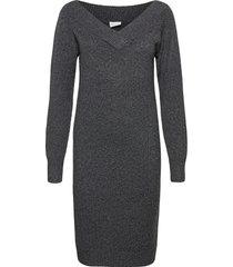 viella l/s v-neck knit dress/za kort klänning grå vila