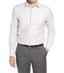 men's big & tall nordstrom men's shop trim fit non-iron dress shirt, size 18 - 36/37 - purple