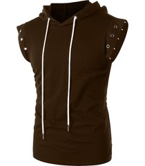 drawstring lace up solid color sleeveless hoodie