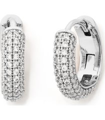 kate spade new york brilliant statements pave mini huggie hoop earrings in clear/silver at nordstrom