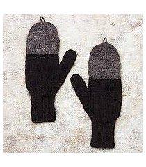 100% alpaca convertible mittens, 'winter mornings' (peru)