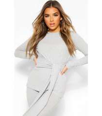 petite knitted rib belted top and leggings, grey