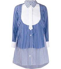 striped layered shirt dress