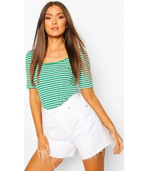 striped rib scoop neck top, green