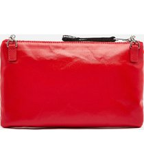 love moschino women's heart logo cross body pouch - red