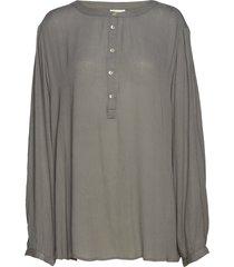 karla amber ls shirt blus långärmad grå kaffe