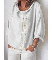 camicetta allentata a maniche lunghe con colletto rovesciato floreale ricamato