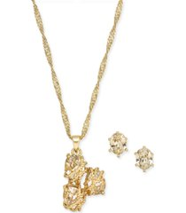 "charter club gold plate triple-stone wrap pendant necklace & stud earrings set, 17"" + 3"" extender, created for macy's"
