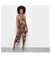 macacão lily fashion frente única tropical feminino
