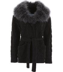 prada maxi cardigan with fur