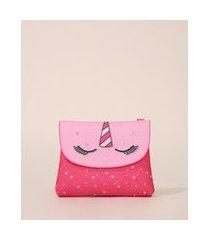 bolsa infantil unicórnio com brilho rosa