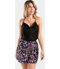 amelia floral drawstring shorts - black