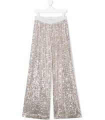 caffe' d'orzo sequin trousers - silver