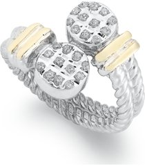 14k gold and sterling silver ring, diamond accent cable bypass ring