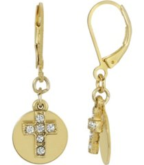 14k gold dipped carded crystal cross with round disc euro wire earrings