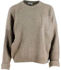 brunello cucinelli crew neck sweater with english rib embellished with lurex and micro sequins