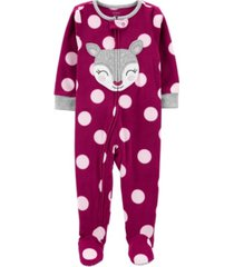 carter's baby girl 1-piece deer fleece footie pjs