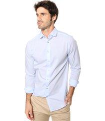 camisa celeste calvin klein witman basic stretch