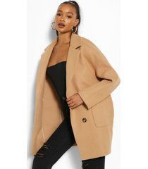 tall oversized wollen jas met zakken, kameel