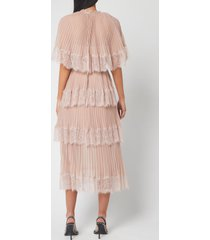 self-portrait women's chiffon cape tiered midi dress - nude - uk 10