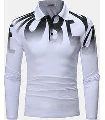 uomo moda stampa di lettere golf camicia primavera autunno manica lunga in cotone casual t camicias