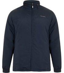jaqueta parka microfibra com manta e capuz embutido marinho