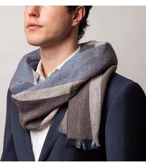 sciarpa da uomo, maalbi, 100% lino rigata marrone, primavera estate | lanieri