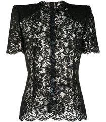 dolce & gabbana structured-shoulder lace blouse - black