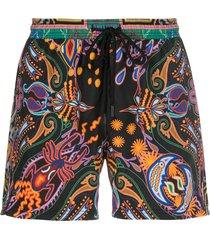 etro drawstring printed swim shorts - black