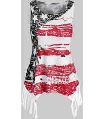 distressed american flag fringed asymmetrical top