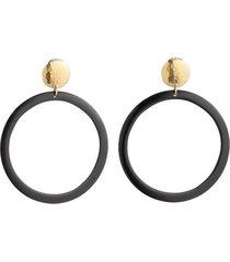 natori buffalo nail hoop clip earrings, women's, brown natori