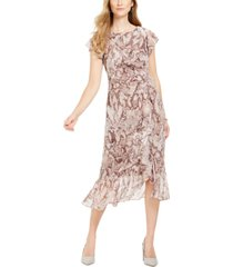 vince camuto ruffled snake-embossed midi dress