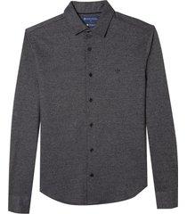 camisa dudlaina manga longa jacquard moulinex masculina (cinza mescla escuro, gg)