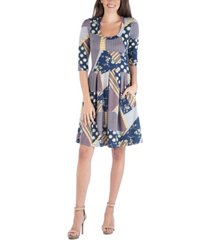 24seven comfort apparel patchwork print fit and flare mini dress