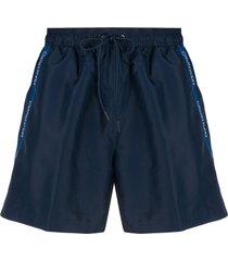 calvin klein side logo detail drawstring swim shorts - blue