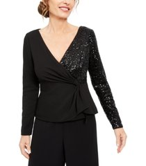 adrianna papell sequinned crepe top