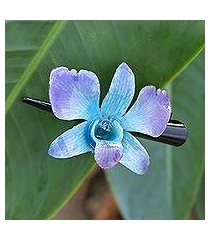 natural orchid hair clip, 'blue-violet orchid love' (thailand)