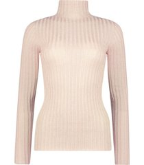 ribbed nude turtleneck blouse