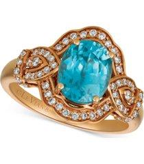 le vian blue zircon (1-9/10 ct. t.w.) & diamond (3/4 ct.t.w.) ring in 14k rose gold