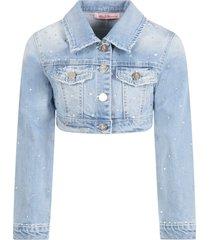 blumarine light blue jacket for girl with logo