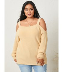 yoins suéter de manga larga con hombros descubiertos y talla grande