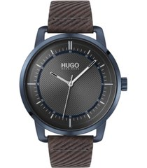 hugo men's #reveal gray leather strap watch 44mm