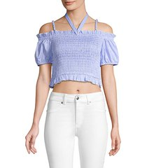 smocked off-the-shoulder cropped top