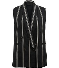 striped single button vest
