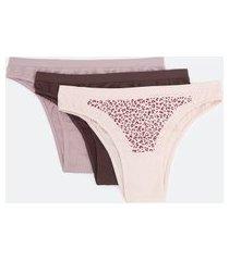 kit com 3 calcinhas biquíni de microfibra sem costura estampada e lisas trifil | trifil | rosa/vermelho/roxo | g