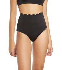 women's chelsea28 scallop high waist bikini bottoms, size xx-small - black