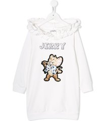 monnalisa jerry embroidery hooded dress - white